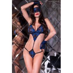 Body in pizzo nero/blu con guanti e benda