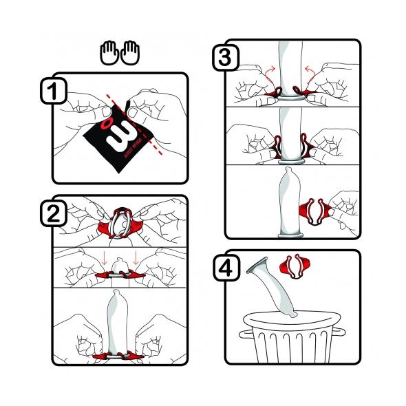 Istruzioni per indossare Wingman condom con due mani