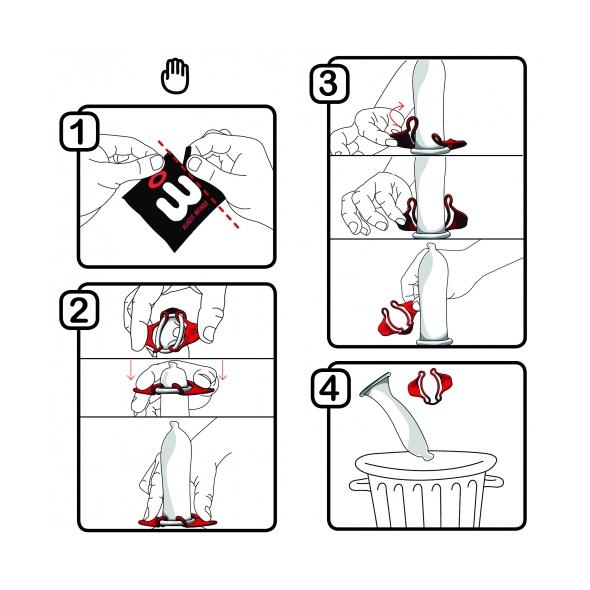 Istruzioni per indossare Wingman condom con una sola mano.